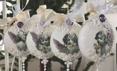 Victorian Lace, Linens, Decoupage, Christmas Bulbs, Holiday Decor, Gifts, Inspiration, Beautiful, Home Decor