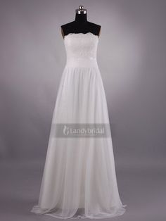 Empire Trägerloser Ausschnitt Bodenlang Brautkleid