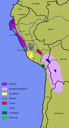 Warfare between Tihuanaco and Huari resembled post-Toltec period in Mesoamerica.  State Chimor (900-1465) was most powerful controlling northern Peru.  This is a picture of Chimor (in dark purple).