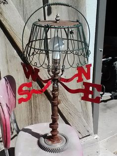 Rusty wire lamp shade frames to use for outdoor chandelier wire upcycled camshaft weathervane wire basket its so cute i havent keyboard keysfo Gallery