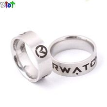 Game Around Overwatch Logo Stainless Steel Band Ring Cosplay Jewelry Collections Womens Jewelry Rings, Women Jewelry, Measure Ring Size, Mens Stainless Steel Rings, Stone Heart, Fantasy Jewelry, Fashion Rings, Men Fashion, Band Rings
