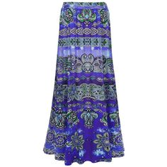 Remarkable Tribal Printed Flared Maxi Skirt ($31) ❤ liked on Polyvore featuring skirts, maxi skirt, tribal skirt, blue skirt, tribal maxi skirt and tribal print maxi skirt