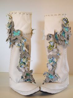 Wedding Boots Blanket of Butterflies Deborah Cracchiolo/CracchioloDesigns TEE-PEE-TOES. $2,100.00, via Etsy.