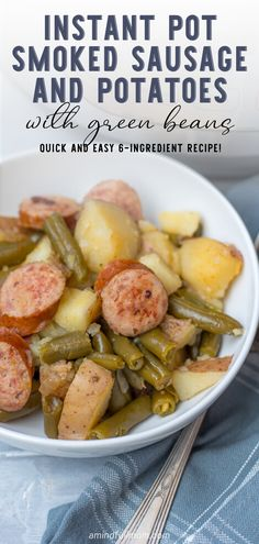 Made with only 6 ingredients and in 15 minutes, this recipe for Instant Pot Smoked Sausage with Potatoes is the definition of a fast family dinner! Kielbasa And Potatoes, Smoke Sausage And Potatoes, Crock Pot Potatoes, Instapot Potatoes, Best Instant Pot Recipe, Instant Recipes, Instant Pot Dinner Recipes, Kitchen Recipes, Cooking Recipes
