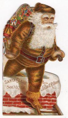 1882 DIE CUT EMBOSSED BROWN COAT SANTA CLAUS SOUVENIR BOOK JULIA C R DORR*TUTTLE