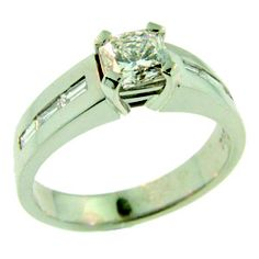 18ct White Gold Square Radiant & Baguette Cut Diamond Ring made at Cameron Jewellery