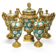 A composed garniture of five gilt-bronze-mounted Sèvres porcelain pot-pourri vases and covers the ovoid pair, and the large vase Louis XVI, late 18th century, the other pair, in Louis XVI style and early 19th century | Lot | Sotheby's