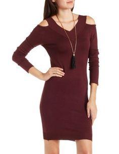 V-Neck Cold Shoulder Sweater Dress #CharlotteLook