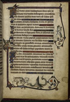 Marginal scenes of a lion and a stag fighting dragons and a monkey riding a hybrid stork, England (London/Westminster), c. 1284, England (East Anglia?), c. 1297-1316, 245 x 165 mm.  Additional 24686, f. 12