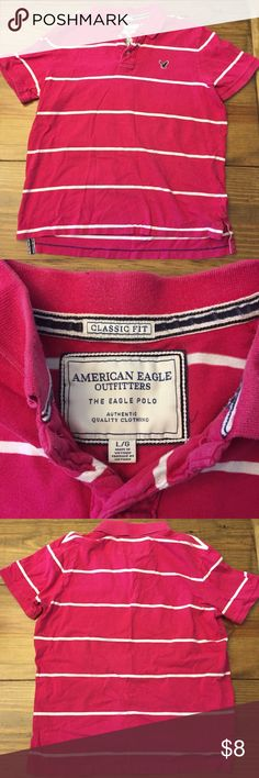 ♦️Men's American Eagle classic fit polo Men's American Eagle classic fit polo Size large 100% cotton Dark pink with white stripes Great condition ♦️ bundle of 3 diamonds for $20 American Eagle Outfitters Shirts Polos