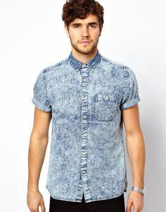 ASOS | Blue Denim Shirt in Short Sleeve with Acid Wash for Men