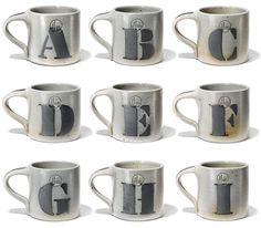 House Industries, House 1151, Eldreth Pottery, Alphabet Mugs, Ampersand, Yorklyn Stencil, Salt Glazed Stoneware
