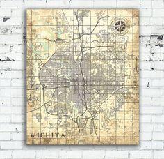 Wichita Canvas Print Kansas Ks Vintage Map Wichita City Vintage Wall Art Map Poster Retro Antique