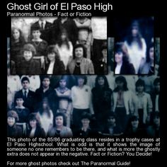 Ghost Girl of El Paso High. Has this old class photo captured the ghostly image of a deceased young woman? You decide! http://www.theparanormalguide.com/blog/ghost-girl-of-el-paso-high