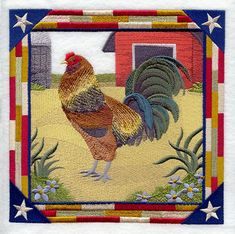 Ameraucana Rooster Square design (C8890) from www.Emblibrary.com