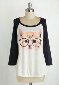 Purr-fect Vision Top - Print with Animals, 3/4 Sleeve, Better, Jersey, Knit, Multi, Tan / Cream, Black, White, Casual, Quirky, Scoop, White, 3/4 Sleeve, Cats, Mid-length