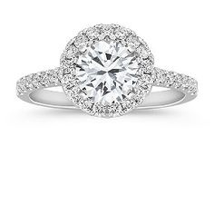 Shane Co - Round Halo Engagement Ring, My ring as a matter if fact!    Thirty-one round diamonds, at approximately .42 carat total weight, are set in quality 14 karat white gold. The ring is made to hold a center stone at approximately 1.00 carat.