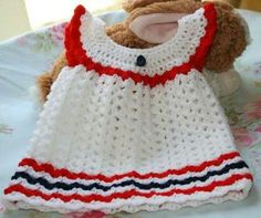 White crochet frock with red lining