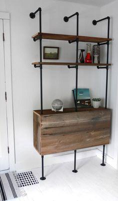 Another Great DIY Plumbing Pipe Shelf Hindsvik Blog via: apartmenttherapy.com