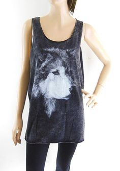 """Not this one per we, but I really want a nice tank with a really gorgeous silk screened wolf. Perhaps this should be on my """"What I need"""" board. Lol    ***     Wolf Tank Top Wolf T Shirt Animal Tank Top Women by sinclothing, $16.99"""