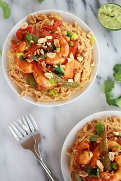 Sweet Thai Shrimp Curry with Peanut Noodles.