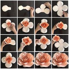 Create your own paper flowers using CBM templates. This listing is for hard copy paper flower templates which are made out of cardstock paper and are ready to use. The listing price is for ONE t (Diy Paper Flowers) Create your own paper flowers using CBM Large Paper Flowers, Paper Flower Wall, Paper Flower Backdrop, Giant Paper Flowers, Diy Flowers, Fabric Flowers, Diy Paper Roses, Paper Flowers How To Make, Paper Flowers Roses