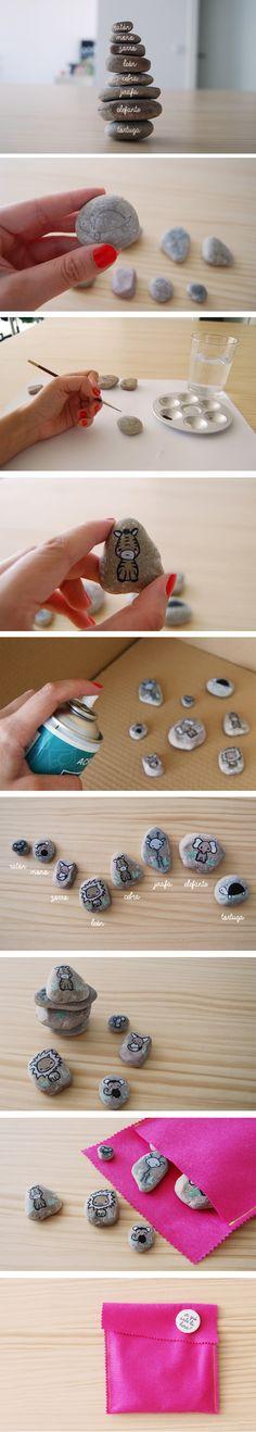 Juego animales hecho con piedras. http://kodomis.wordpress.com/2013/07/19/juego-animales-hecho-con-piedras/