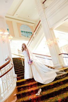 A Cinderella moment on the staircase of Disney's Grand Floridian Resort
