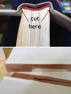 "Sewing Barefoot: ""hidden storage"" books: hide router, power strips, etc."