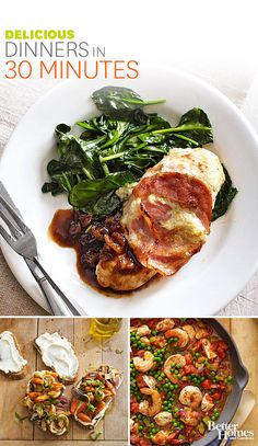 On a hectic weeknight, try one of these fabulous (and easy) 30-minute meals. From pork chops to Linguine, we've got you covered:  http://www.bhg.com/recipes/quick-easy/dinners-30-minutes-less/30-minute-meals/?socsrc=bhgpin10061330minutemeals