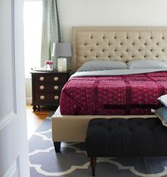 Traditional contemporary bedroom meets India influences.