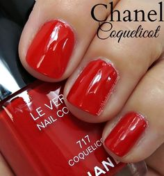 Chanel 717 Coquelicot. A luminous vermillion red cream. // Collection Mediterranee Le Vernis Nail Colour for Summer 2015