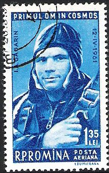 Yuri Gagarin stamp Romania. First in space. Read articles at: http://www.whattravelwriterssay.com