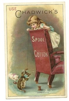 Old Victorian Cat & Girl Chadwick's Spool Cotton Trade Card Jas. Chadwick & Bros | eBay