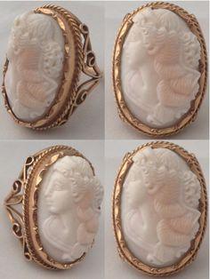 Antieke gouden camee ring. Rose bloedkoraal, 1900, Engeland http://www.namori-juwelier.nl/webshop/antiek-sieraden/detail/79/antieke-supergrote-gouden-camee-ring.html