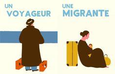 Un voyageur - Une migrante Blexbolex