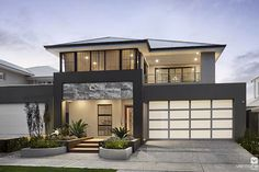 Light grey roof, dark portico, light facers and dark gutters and a light garage door