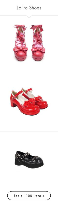 """Lolita Shoes"" by arielle1983 ❤ liked on Polyvore featuring shoes, heels, lolita, lolita shoes, red, mml, red shoes, goth, demonia shoes and chunky platform shoes"
