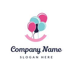 Colorful Balloon and Pink Banner logo design Party Logo, Instagram Logo, Company Names, Company Logo, Balloon Logo, Balloon Company, Online Logo, Colourful Balloons, How To Make Logo
