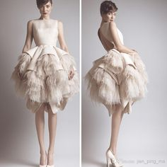 Vestidos 2014 Tea Length Backless Prom Dresses Ashi Studio Modest Tiers Bubble Bottom Asymmetrical Evening Dresses
