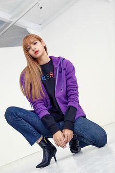 "Blackpink For Guess X Lotte Korea ""Wherever Guess"" 2018 Lisa Bp, Jennie Blackpink, Rapper, Forever Young, Blackpink Outfits, Jenny Kim, Lisa Black Pink, Lisa Blackpink Wallpaper, Outfits"