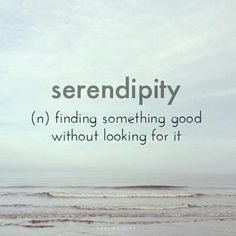 Serendipity, one of my very favorite words and occurrences <3