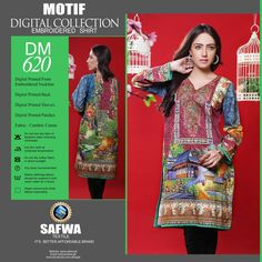 DIGITAL SHIRT KURTI KAMEEZ - CAMBIRC COTTON - SAFWA MOTIF COLLECTION - DM620  #safwapk #Brand #Affordable #Better #safwa #onlineshopping #ladiesclothing #womenclothing #shoponline #dresses