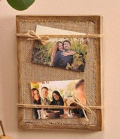 Crafts Unique DIY Family Photo Frames For Your Memorable Moments # DIY Gifts for family Diy Photo, Cadre Photo Diy, Photo Craft, Burlap Projects, Burlap Crafts, Wood Crafts, Diy And Crafts, Diy Projects, Unique Photo Frames