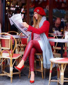 bviously, Parisian lifestyle has been invented for me 😉 Our national holiday starts with late breakfast at our fav cafe Leather Pants Outfit, National Holidays, Heels Outfits, Sexy Jeans, Red Shoes, Colorful Leggings, Real Leather, Parisian, Inventions