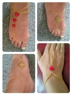 Slave bracelet and anklet set with ruby red hearts finished in gold plate and red ab crystals. Gold slave anklet with large flower connectors and gold plate finish. Uber happy with these Beaded Foot Jewelry, Hand Jewelry, Feet Jewelry, Jewellery, Body Jewelry, Slave Bracelet, Anklet Bracelet, Beaded Bracelet Patterns, Beaded Bracelets
