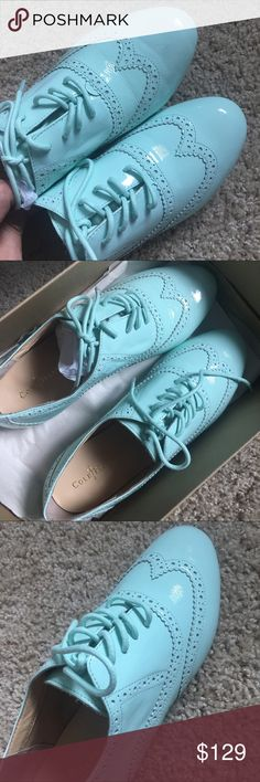 """Cole Haan tompkins oxford size 7B color mint New in box! Gorgeous spring and summer color! I have two pairs in different color! Excellent quality! Super comfortable!Heel measures 1/4"""" *  Patent leather upper; Leather lining; Man made sole  Lace up style Perforated details Lightly padded footbed Cole Haan Shoes Sneakers"""