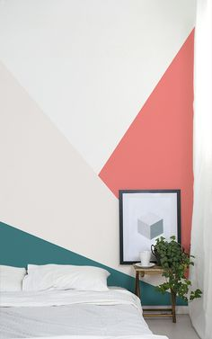 Geometric Design comes in all different shapes and sizes, offering optical illusions and powerful colours. When you're selecting the perfect print for your bedroom, some may seem more daunting than others, but when styled right they can look super modern and neat, yet fun, adding a pop of colour to yours, or your kid's bedrooms. #wallpaper #murals #wallmurals #interior #design #home #homedecor #decor #accentwall #inspiration