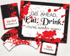 Adult Halloween Party Buffet Set -  PRINTABLE Buffet Sign, Labels, Cupcake Wrappers - Printable Party Pack. $15.00, via Etsy.
