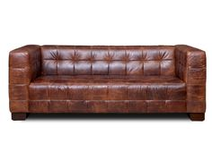 """80"""" VINTAGE BROWN Leather Sofa, Couch, TOP GRAIN, WALNUT, Mid Century Modern NEW"""